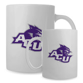 ACU Wildcat Full Color White Mug 15oz-Angled ACU w/Wildcat Head