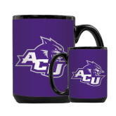 ACU Wildcat Full Color Black Mug 15oz-Angled ACU w/Wildcat Head