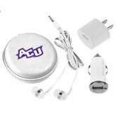 ACU Wildcat 3 in 1 White Audio Travel Kit-Angled ACU