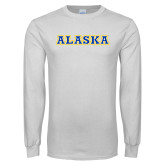 White Long Sleeve T Shirt-Alaska Word Mark