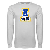 White Long Sleeve T Shirt-A-bear Distressed