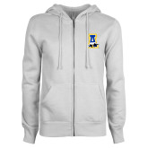ENZA Ladies White Fleece Full Zip Hoodie-A-bear