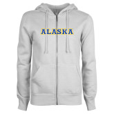 ENZA Ladies White Fleece Full Zip Hoodie-Alaska Word Mark