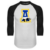 White/Black Raglan Baseball T-Shirt-A-bear