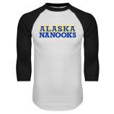 White/Black Raglan Baseball T-Shirt-Alaska Nanooks
