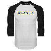 White/Black Raglan Baseball T-Shirt-Alaska Word Mark