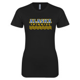 Next Level Ladies SoftStyle Junior Fitted Black Tee-Swimming