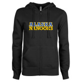 ENZA Ladies Black Fleece Full Zip Hoodie-Alaska Nanooks