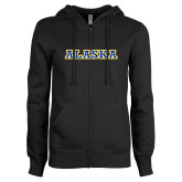 ENZA Ladies Black Fleece Full Zip Hoodie-Alaska Word Mark