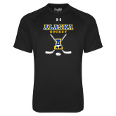 Under Armour Black Tech Tee-Alaska Hockey Crossed Sticks
