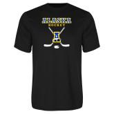 Syntrel Performance Black Tee-Alaska Hockey Crossed Sticks
