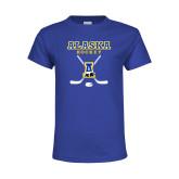 Youth Royal T Shirt-Alaska Hockey Crossed Sticks