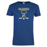Ladies Royal T Shirt-Alaska Hockey Crossed Sticks
