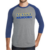Grey/Royal Heather Tri Blend Baseball Raglan-Alaska Nanooks
