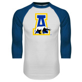 White/Royal Raglan Baseball T Shirt-A-bear