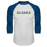 White/Royal Raglan Baseball T Shirt-Alaska Word Mark