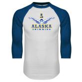 White/Royal Raglan Baseball T Shirt-Swimming