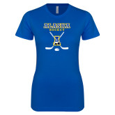 Next Level Ladies SoftStyle Junior Fitted Royal Tee-Alaska Hockey Crossed Sticks