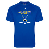 Under Armour Royal Tech Tee-Alaska Hockey Crossed Sticks