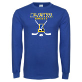 Royal Long Sleeve T Shirt-Alaska Hockey Crossed Sticks