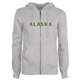 ENZA Ladies Grey Fleece Full Zip Hoodie-Alaska Word Mark