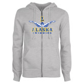 ENZA Ladies Grey Fleece Full Zip Hoodie-Swimming