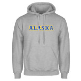 Grey Fleece Hoodie-Alaska Word Mark