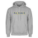 Grey Fleece Hoodie-Alaska Word Mark