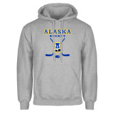 Grey Fleece Hoodie-Alaska Hockey Crossed Sticks
