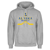 Grey Fleece Hoodie-Alaska Hockey Crossed Sticks w/ Puck