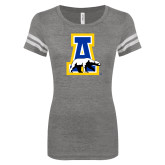 ENZA Ladies Dark Heather/White Vintage Triblend Football Tee-A-bear