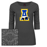 Ladies Charcoal Heather Tri Blend Lace 3/4 Sleeve Tee-A-bear