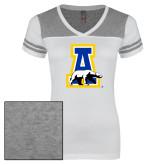 Ladies White/Heathered Nickel Juniors Varsity V Neck Tee-A-bear
