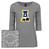 Ladies Grey Heather Tri Blend Lace 3/4 Sleeve Tee-A-bear