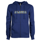 ENZA Ladies Royal Fleece Full Zip Hoodie-Alaska Word Mark