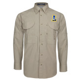Khaki Long Sleeve Performance Fishing Shirt-A-bear