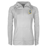 Ladies Sport Wick Stretch Full Zip White Jacket-A-bear