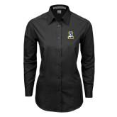 Ladies Black Tonal Pattern Long Sleeve Shirt-A-bear