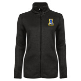 Black Heather Ladies Fleece Jacket-A-bear