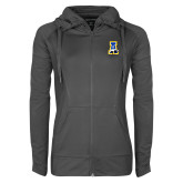 Ladies Sport Wick Stretch Full Zip Charcoal Jacket-A-bear