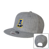Heather Grey Wool Blend Flat Bill Snapback Hat-A-bear