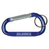 Blue Carabiner with Split Ring-Alaska Word Mark Engraved