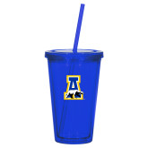 Madison Double Wall Blue Tumbler w/Straw 16oz-A-bear