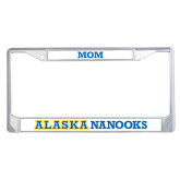 Mom Metal License Plate Frame in Chrome-Mom