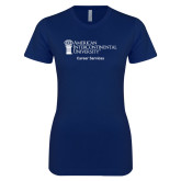Next Level Ladies SoftStyle Junior Fitted Navy Tee-Career Services