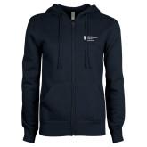 ENZA Ladies Navy Fleece Full Zip Hoodie-Alumni Services