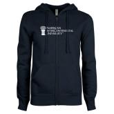 ENZA Ladies Navy Fleece Full Zip Hoodie-American Intercontinental University