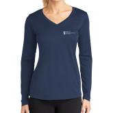 Ladies Syntrel Performance Navy Longsleeve Shirt-American Intercontinental University