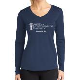 Ladies Syntrel Performance Navy Longsleeve Shirt-Financial Aid