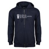 Navy Fleece Full Zip Hoodie-American Intercontinental University